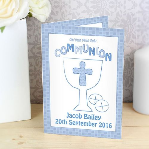 Personalised First Holy Communion Card Blue